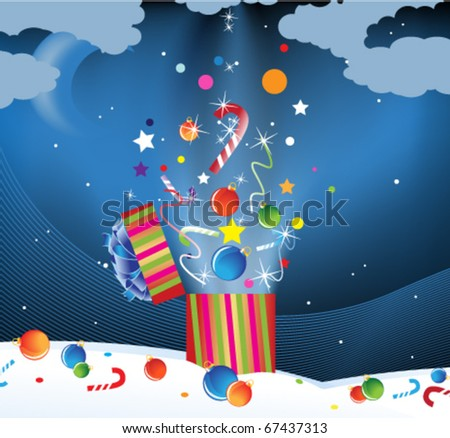 Christmas decorations and candy flying out of gift boxes in the night sky
