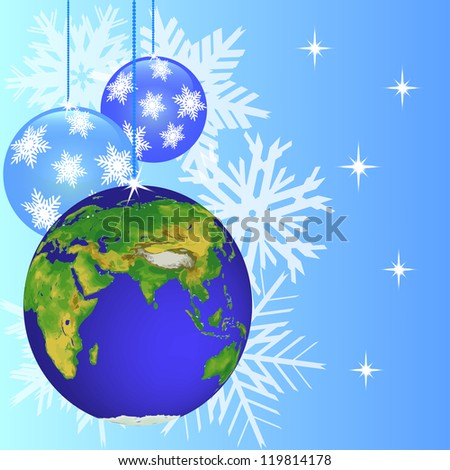 christmas decorations as globe with snowflake and stars on blue background. vector stock