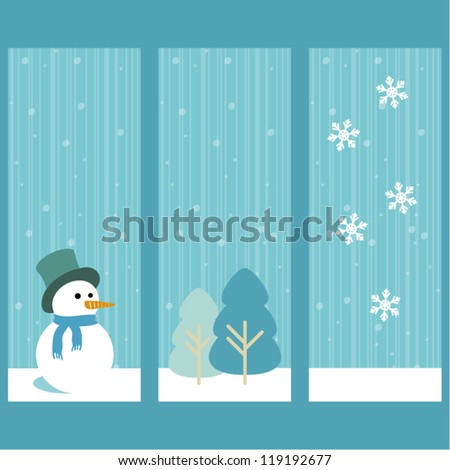 Christmas decorations banners with snowman, trees and snowflakes, seasonal greeting card, vector illustration