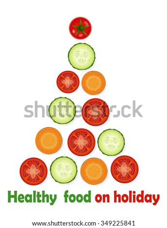 christmas decorations creating  from chopped pieces of tomato, carrot and cucumber and text ``healthy food on holiday``, creative idea, vector