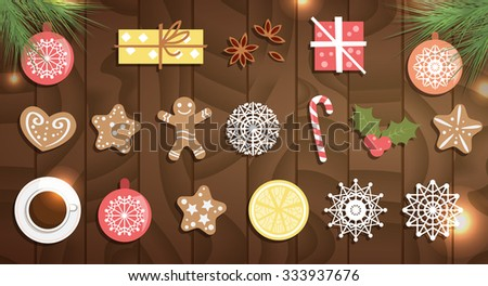 Christmas decorations on wooden texture. Cakes, balls, spruce branches, gifts, snowflakes, candy, cup, lemon, cinnamon, mistletoe. Vector isolated illustration. Can be used for banners, cards.