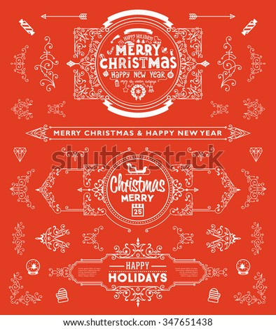 Christmas Decorations Set. Holiday Elements for Greeting Cards. Typographic Vintage Labels, Badges and Logos. Flourishes Calligraphic Collection. #347651438