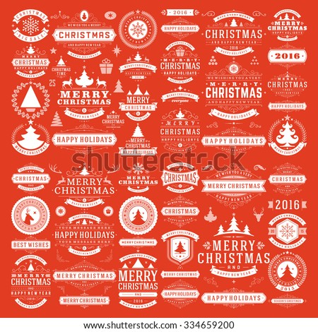 Stock Photo Christmas decorations vector design elements. Typographic messages, tree, deer, snowflake, vintage labels, frames ribbons, badges, logos, ornaments set. Flourishes calligraphic. Big Collection.