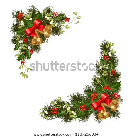Christmas decorations with fir tree and decorative elements. vector illustration