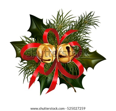 christmas decorations with fir tree golden jingle bells and decorative elements vector illustration