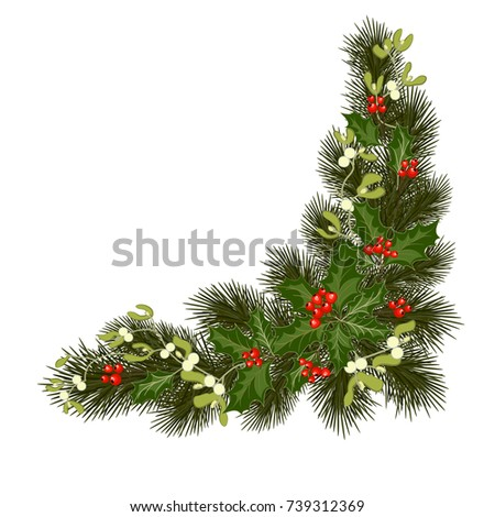 Christmas decorations with fir tree, holly, berries, mistletoe and decorative elements. Design element for Christmas decoration. Vector illustration