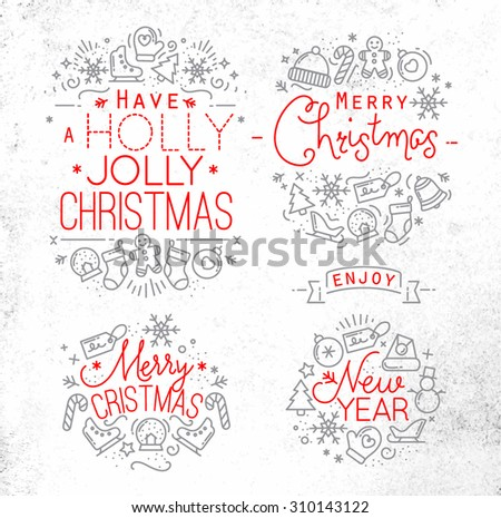 Christmas decorative elements for winter holidays in flat style,  drawing with grey and red lines on white background
