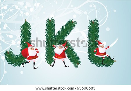 Christmas decorative fir-tree ABC with funny Santas. Letters J, K, L. Vector. - stock vector