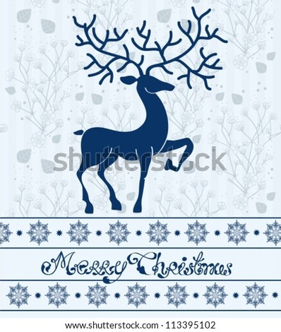Christmas deer card with text: Merry Christmas, beautiful illustration, vector
