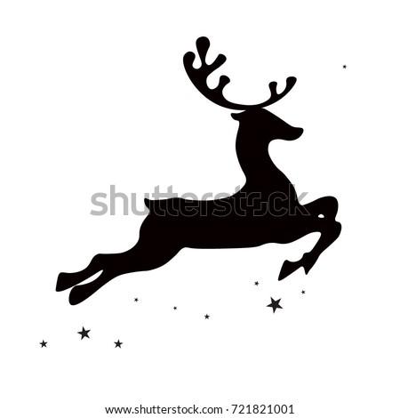 Christmas deer (elk), black silhouette on white background, vector isolated christmas card