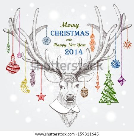 Christmas deer. EPS 10
