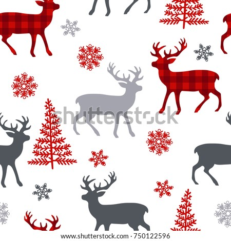 Christmas deer. Tree. Snowflakes. Seamless vector pattern (background).
