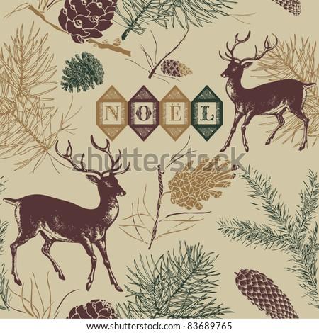 christmas deer  vintage vector