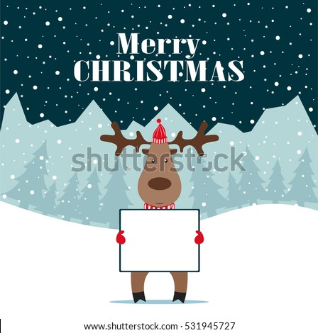 christmas deer with banner