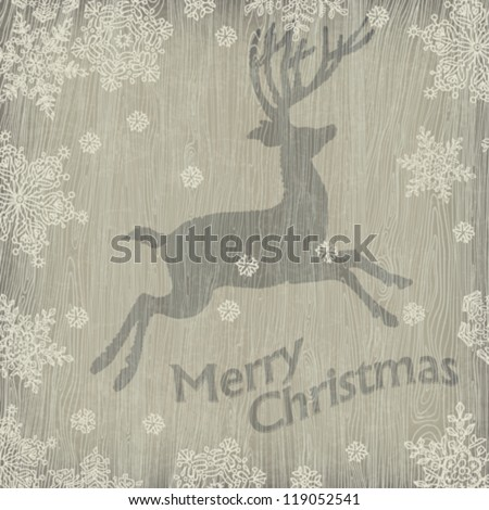 Christmas deer with snowflakes on wooden texture. Vector illustration, EPS10.