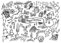 Christmas design element in doodle style set of objects and symbols on the Merry Christmas theme