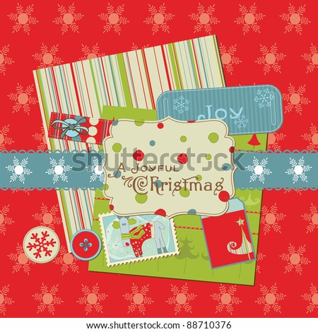 Christmas Design Elements - for scrapbook, design, invitation, greetings - stock vector
