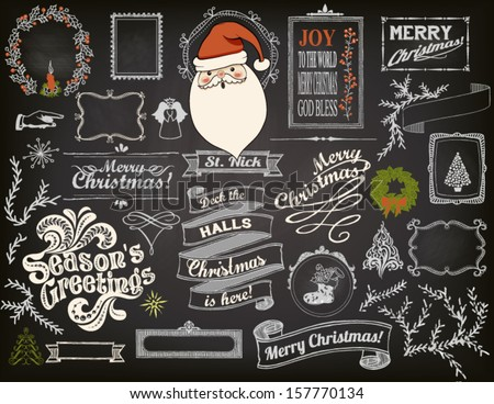 christmas design elements on