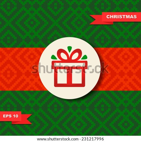 Christmas design Holiday border with gift box on seamless background Christmas present Xmas card template New Year cartoon design