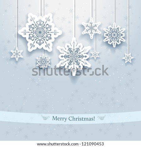 Christmas design with decorative snowflakes