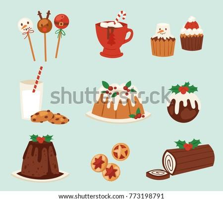 christmas desserts vevtor