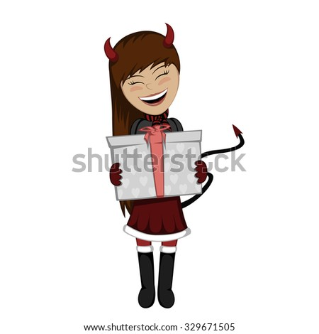 christmas devil girl with