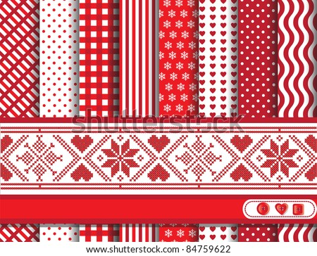 Christmas digital scrapbooking paper swatches in red and white with Scandinavian style ribbon EPS10 vector format