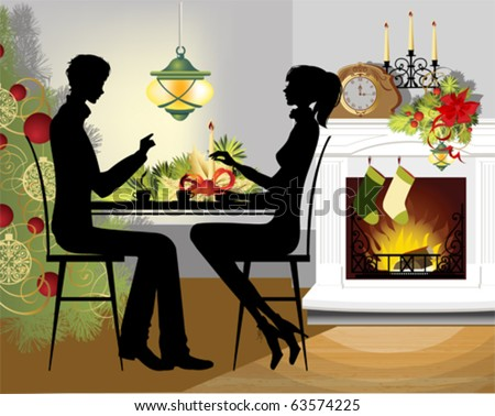 Christmas dinner. All elements and textures are individual objects. Vector illustration scale to any size.