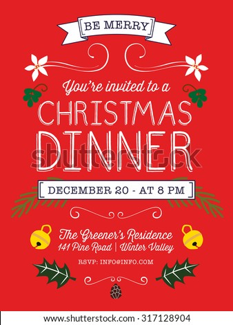 Christmas dinner invitation or flyer on red background, decorated with christmas elements. Vector and illustration design.
