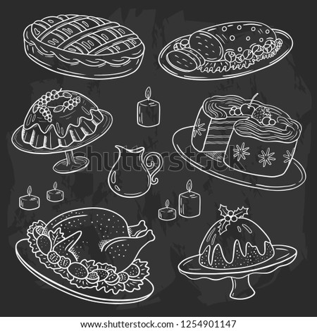 Christmas dinner menu, chalk drawing doodle style, blackboard background, white on black sketch, holiday dishes turkey, pudding, sweet pie, cake, muffin, roasted meat, sauce, for flyer, banner, etc. - Shutterstock ID 1254901147