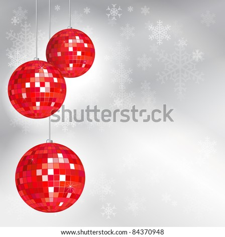 Christmas disco balls with snowflake background and space for your text. EPS10 vector format.