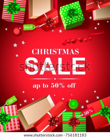 Christmas discounts, discount inscription with snowflakes, big New Year discounts
