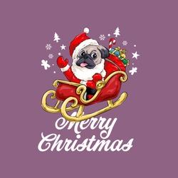 Christmas Dog Pug Vector Illustration