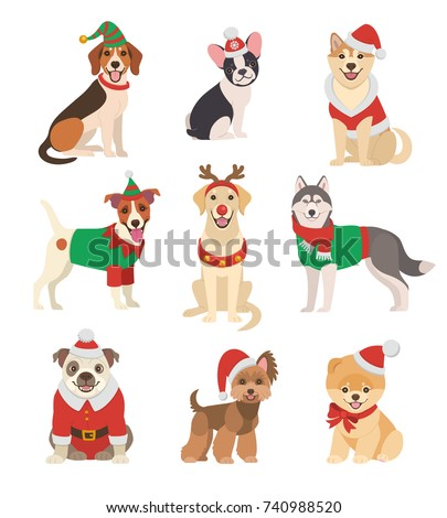 stock-vector-christmas-dogs-collection-vector-illustration-of-funny-cartoon-different-breeds-dogs-in-christmas