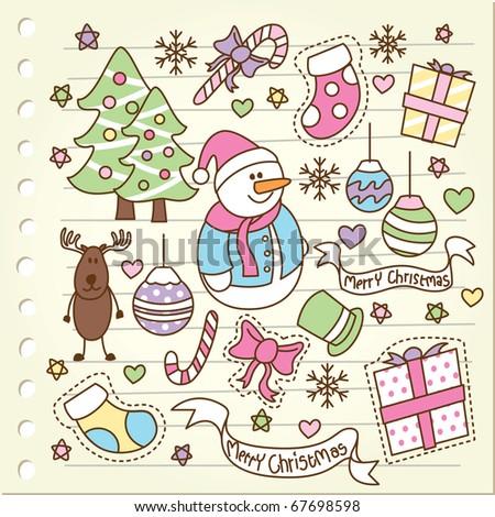 Christmas doodle - stock vector