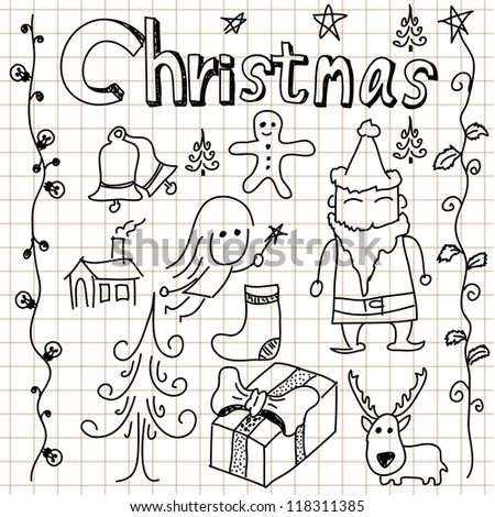 Christmas doodle collection of vector illustrations