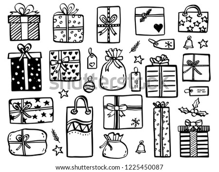 Christmas doodles - collection of hand drawn christmas gifts