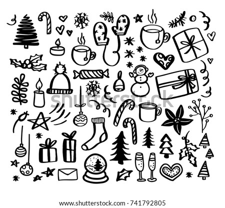 Christmas doodles. Hand drawn xmas illustrations. Winter and New Year black outline icons.  Modern design elements for holiday greeting card, gift tag, label, sticker, banner, poster, postcard