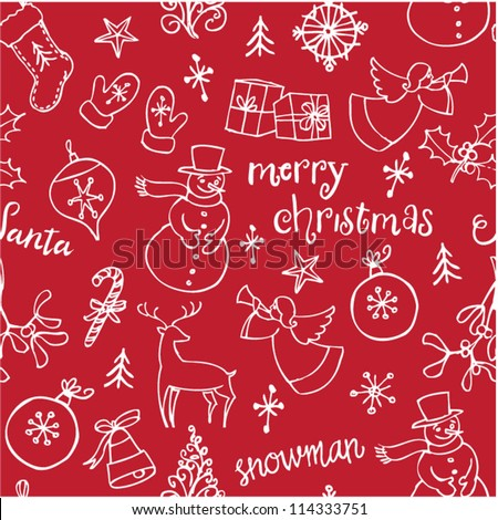 Christmas doodles icons & words seamless vector - stock vector