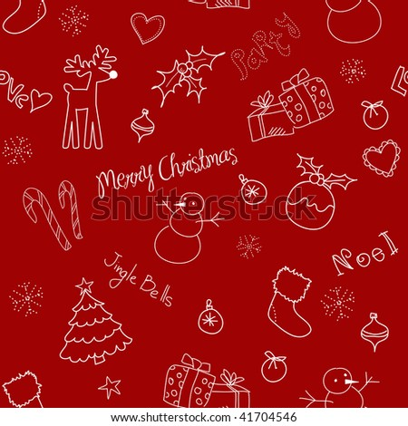 Christmas doodles. Seamless pattern - stock vector