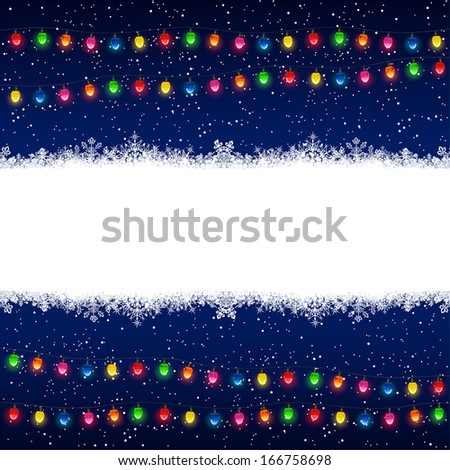 Christmas electric garland with snowflakes on blue background, illustration.