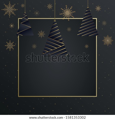 Christmas Elegant Luxury Background Tree Vector Illustration with Gold Elegance Banner Wallpaper