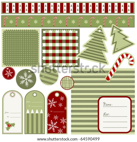 christmas elements and patterns