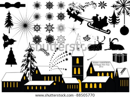 christmas elements collection - vector silhouette - stock vector