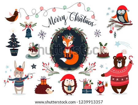 Christmas elements collection with funny characters and seasonal design