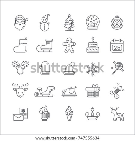 christmas elements icon set. icon flat style with thin line art icons. Editable stroke