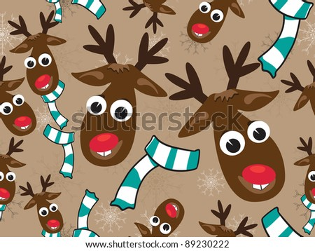 Christmas elements on seamless pattern with cute Reindeer & scarf  in  light brown color background for Christmas & other occasions.