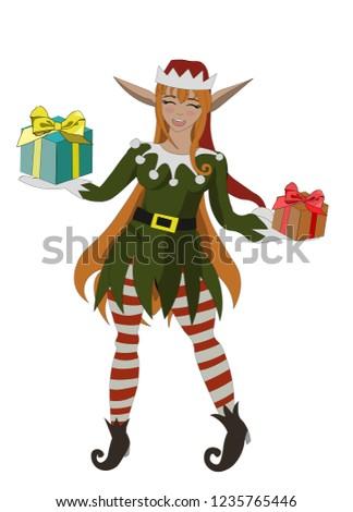 christmas elf anime girl