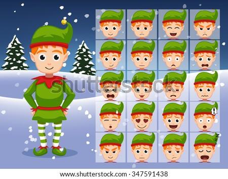 christmas elf cartoon emotion