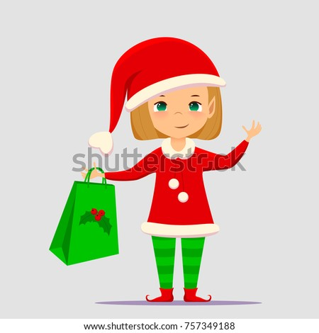 Christmas elf cartoon vector illustration. Flat slyle Santa Claus elf character isolated on white background. Design element for Merry Xmas, Happy New Year card, banner, flayer, leaflet, poster